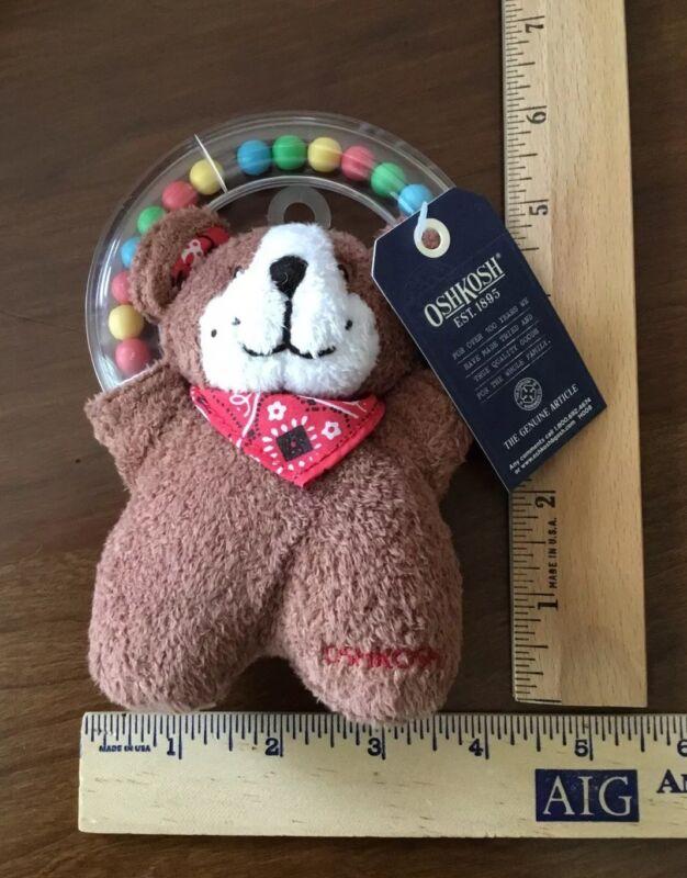OSHKOSH Osh Kosh Brown Teddy Bear Stuffed Rattle / Teether / Lovey - Vintage NWT