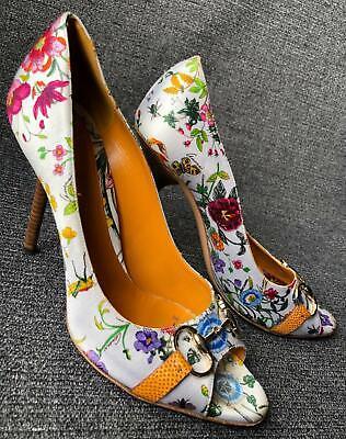 GUCCI Flora Floral Horsebit Peeptoe Pumps sz (Gucci Flora Floral)