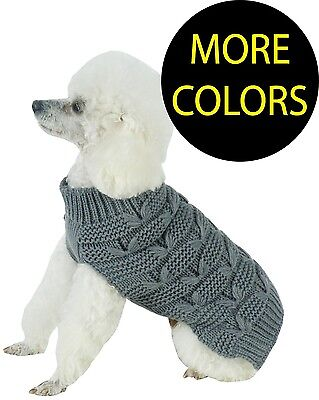 Butterfly Stitched Heavy Cable Knitted Fashion Turtle Neck Pet Dog Sweater