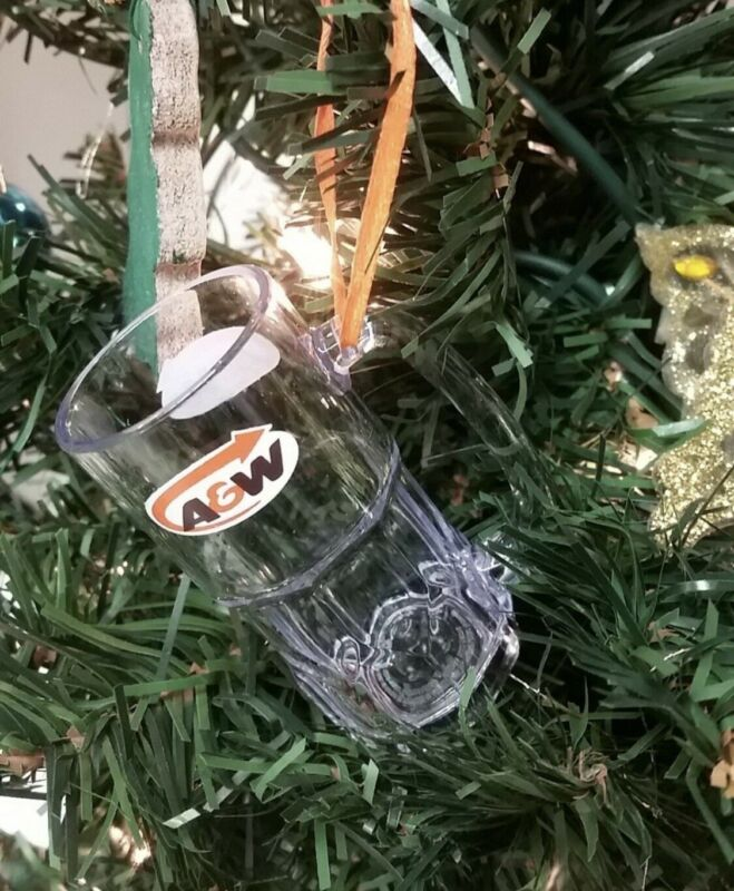 A&W Root Beer Plastic Mini Glass Christmas Ornament NEW IN BOX
