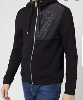 Mens Authentic Versace Collection ZIP  Hoodie Black XL