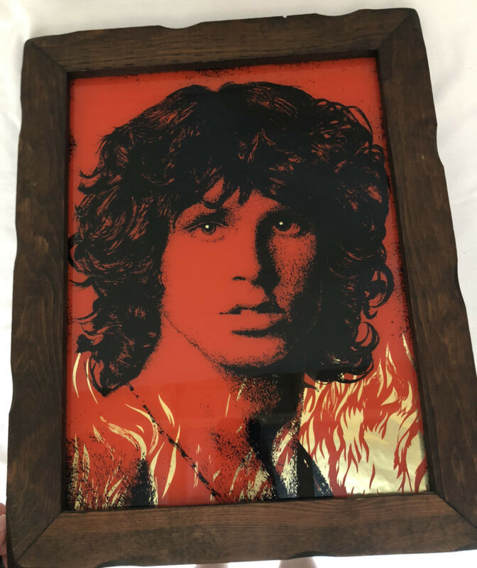 Jim Morrison Flames Red Black Foil Print Picture Art Rock And Roll Doors