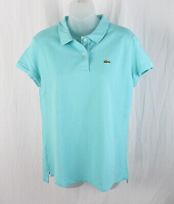 Lacoste Women's Turquoise Short Sleeve Polo Tee Shirt Top Size 46 14
