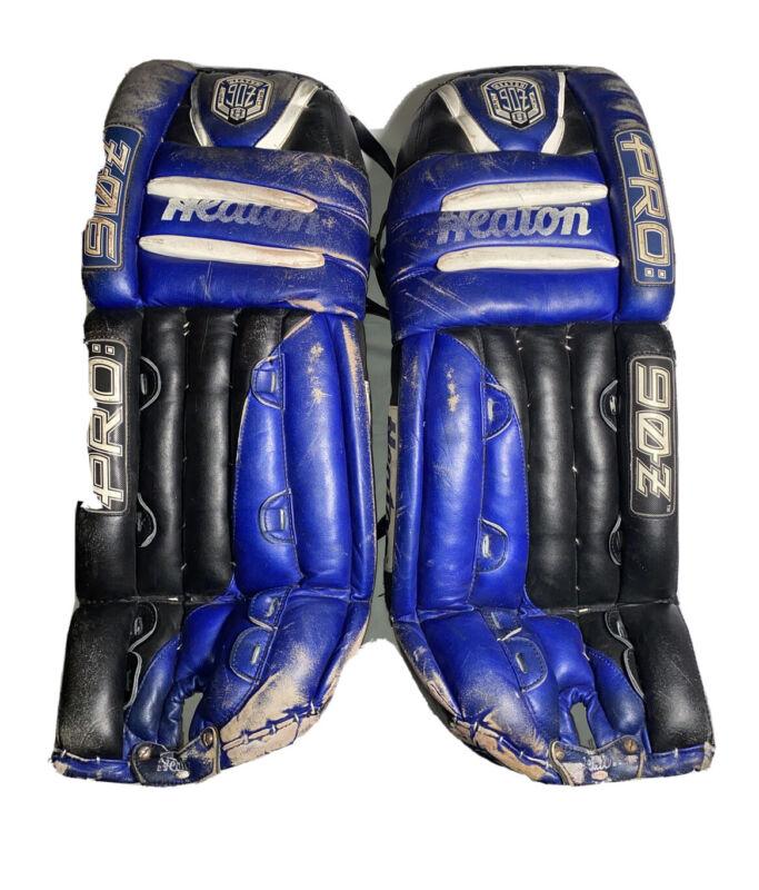 """Heaton Pro 90Z (33"""") PRO:90Z Vintage Goalie Pads Ice Hockey Roller Blue Black"""