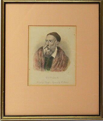 Radierung koloriert um 1850 Portrait Porträt Tizian 25 x 21 cm