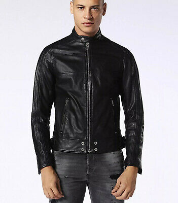 $698 Diesel Men's Motorcycle Leather Street Black Jacket Size 2XL