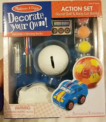 Decorate Your Own Soccer Ball (Melissa And Doug Decorate Your Own Banks Paint Soccer Ball Race Car NIP New)