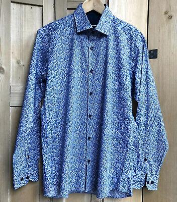 Pristine Mens Designer JARED LANG Shirt Blue Floral Size M Medium Statement