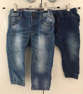 2 x Baby boys denim jeans - size 0 & 1