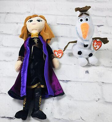 New TY Sparkle Lot Frozen 2 Disney Anna Princess Olaf Plush Stuffed Lot 15.5 NWT