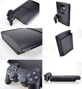 Black Carbon Fiber Skin Sticker for PS3 Super Slim and 2 controller skins