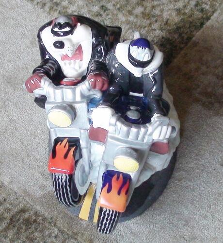 Bugs Bunny & Tazmanian Devil Harley Davidson Cookie Jar 1999 ~ Clay Art