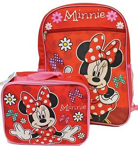 Disney Minnie Mouse Red & Pink Backpack Book Bag & Lunch Box Set NEW