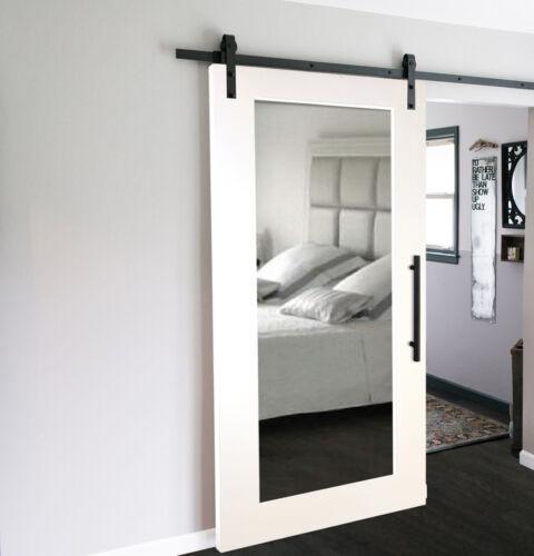 Mirror Sliding Barn Door with Mirror Insert + Hardware Kit