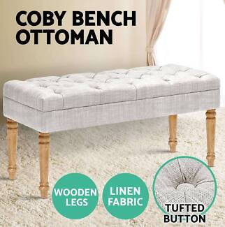 COBY Blanket Chair Ottoman Linen Fabric Dressing Bench New