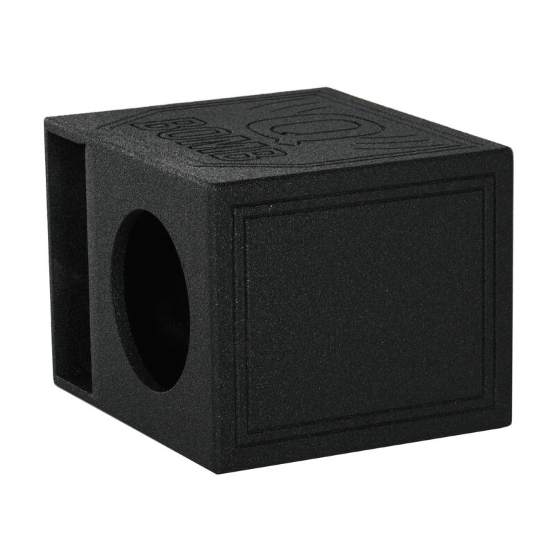 "Q Power QBomb QBOMB10HP Single 10"" Vented Port Subwoofer Box w/ Bedliner Spray"