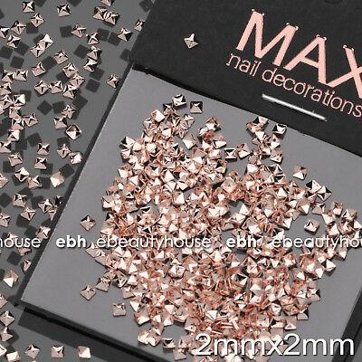 200 Pcs Rose Gold Metal Nail Art Studs Decorations Accessories #E1167 - Metallic Decorations