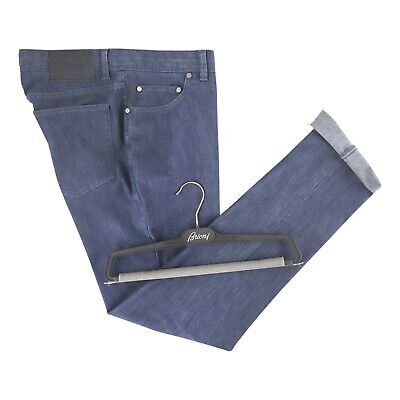 $795 NWT BRIONI Dark Wash Blue Cotton Straight Leg Pants Jeans 35 Fits 34