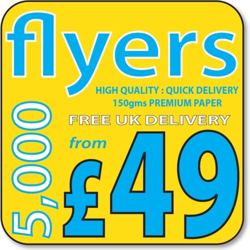 A5 A4 flyers on 150gms A6 or DL Printed Colour leaflets