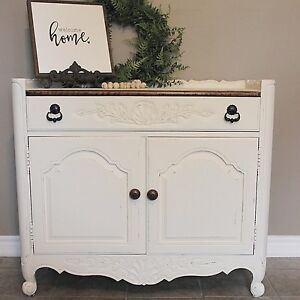 White + Wood Vintage Buffet