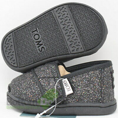 TOMS 10011460 Girl's Tiny Vegan Classics Iridescent Glimmer Shoes Black (3)