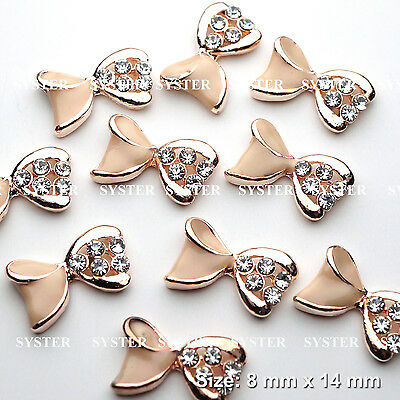 Used, 10 PCS Nail Art Champagne Gold Bow Rhinestone Charms Decorations Jewelry #S1071 for sale  Shipping to United States