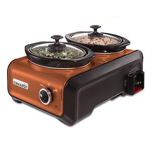Crock-Pot Hook Up Double 1 Quart Connectable Party Slow Cooker System, Copper