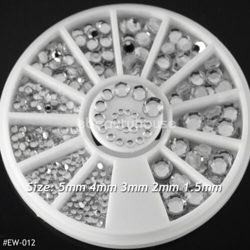 5 Sizes Acrylic Nail Art Decoration 3D Clear White Glitter Rhinestones #EW-012