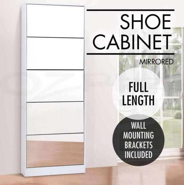 Pairs Mirrored Shoe Cabinet Rack Mirror Storage 5 Drawers New ...