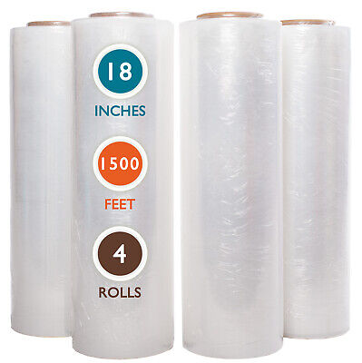 4 Rolls 18 X 1500 Ft Stretch Wrap 55 Gauge High Performance Stretch Film Clear