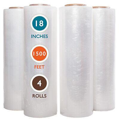 4 Rolls 18 X 1500 Ft Stretch Wrap 55 Gauge High Performance Stretch Film Clear