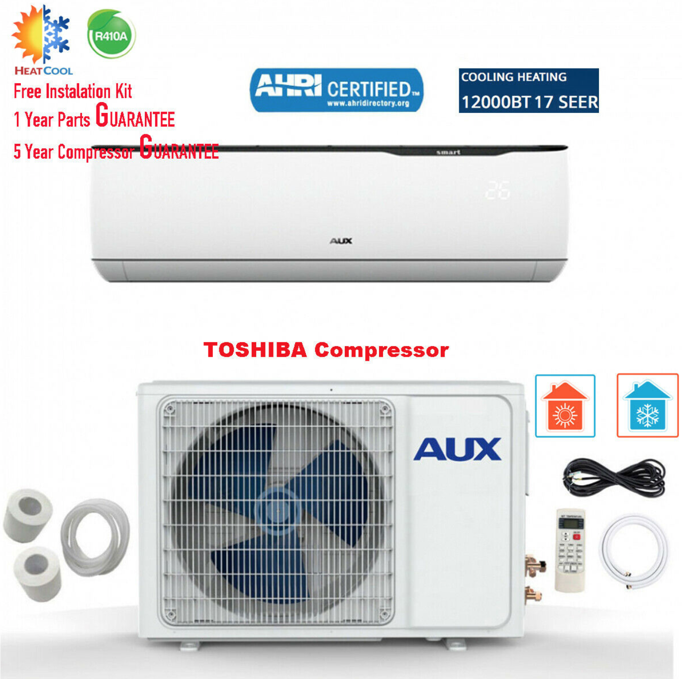 Mini Split Air Conditioner Inverter Wall Heat Pump 12000 BTU
