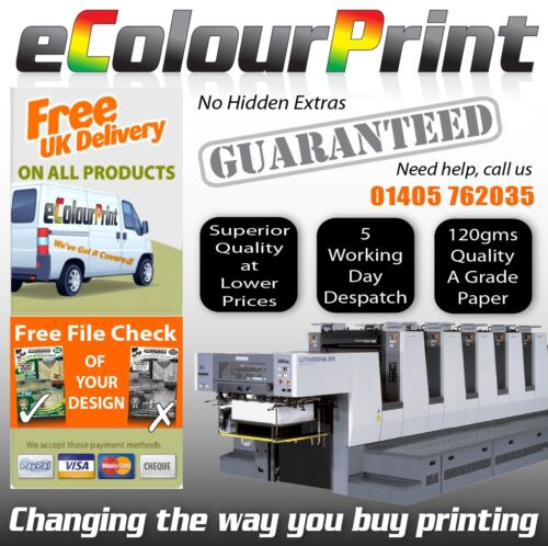 A6 or DL Printed Colour leaflets A5 flyers on 150gms Plus 25 FREE Posters A4