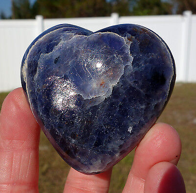 Pure Blue Iolite Crystal Heart Point Third Eye Activator Large Super Aura Stone