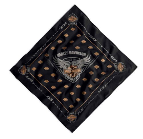 HARLEY DAVIDSON 115TH ANNIVERSARY BANDANA * NEW * 23 X 23 COTTON