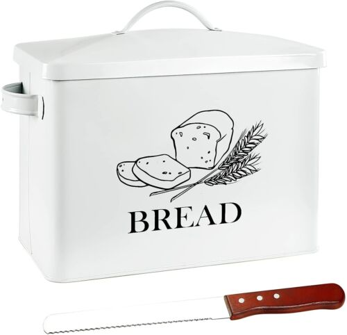 Extra Large Tin Metal Farmhouse Bread Box & Lid Handle Free Knife FITS 2 LOAVES