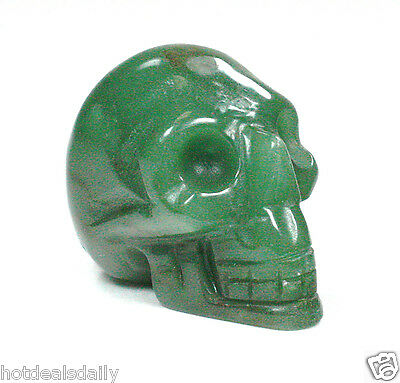 GREEN AVENTURINE SKULL METAPHYSICAL HEALING CRYSTAL HAND CARVED GOOD LUCK