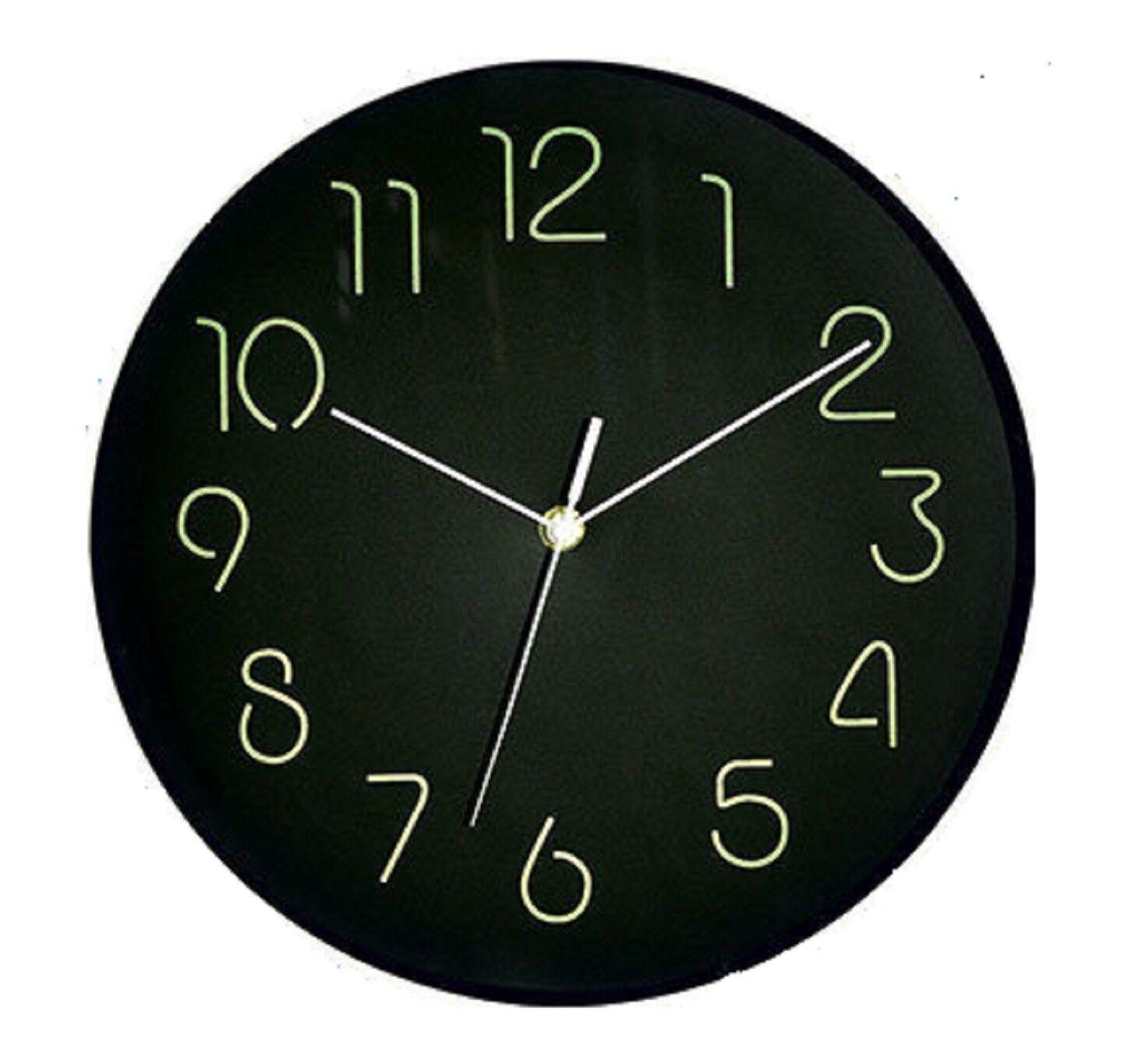 Glow In The Dark Wall Clock Analog – 12″ Diameter Large Numbers Black Backgroud Clocks