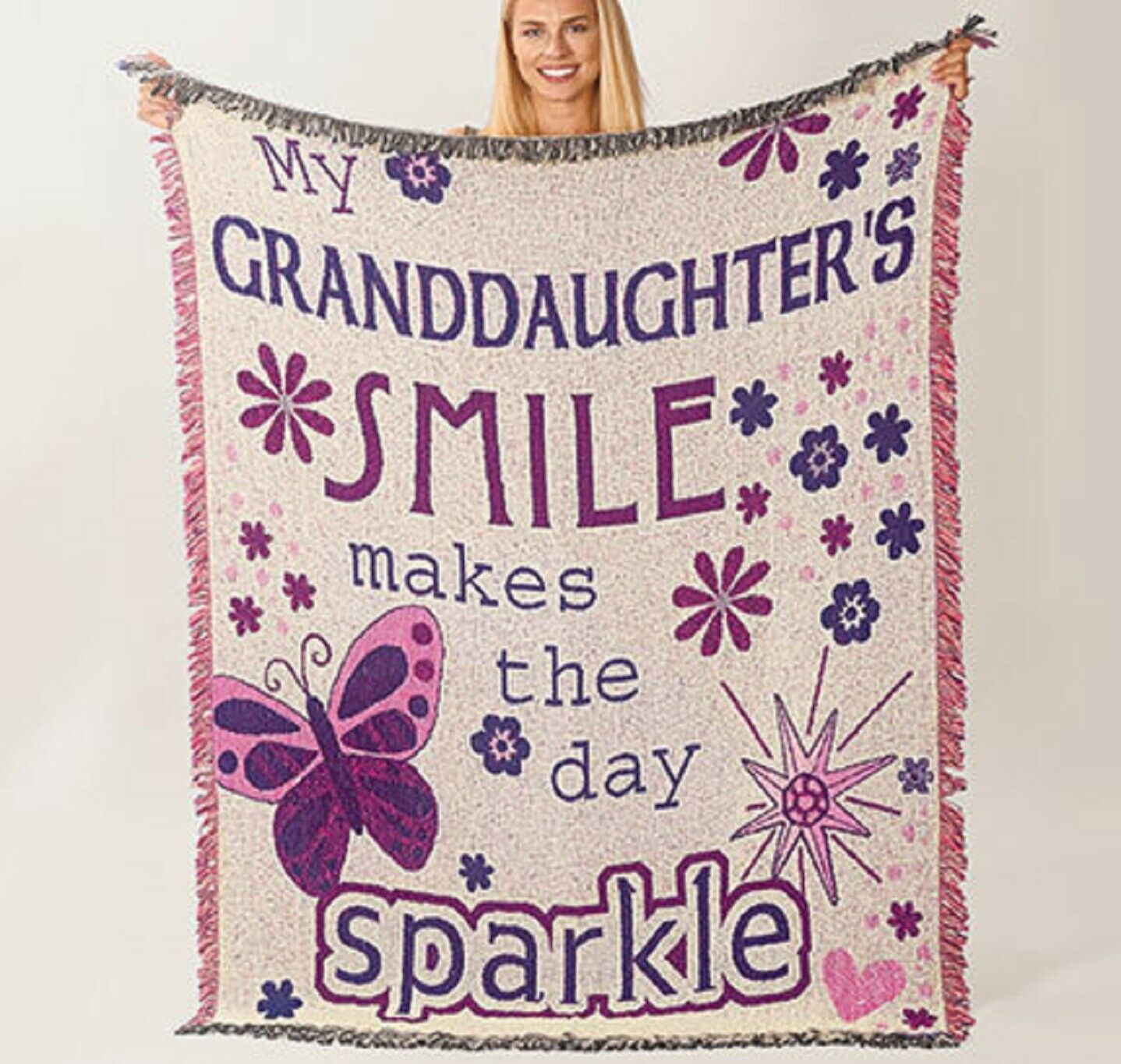 Granddaughter Throw Afghan 60″ L x 48″ W. 100% cotton Made in USA Beautiful Afghans & Throw Blankets