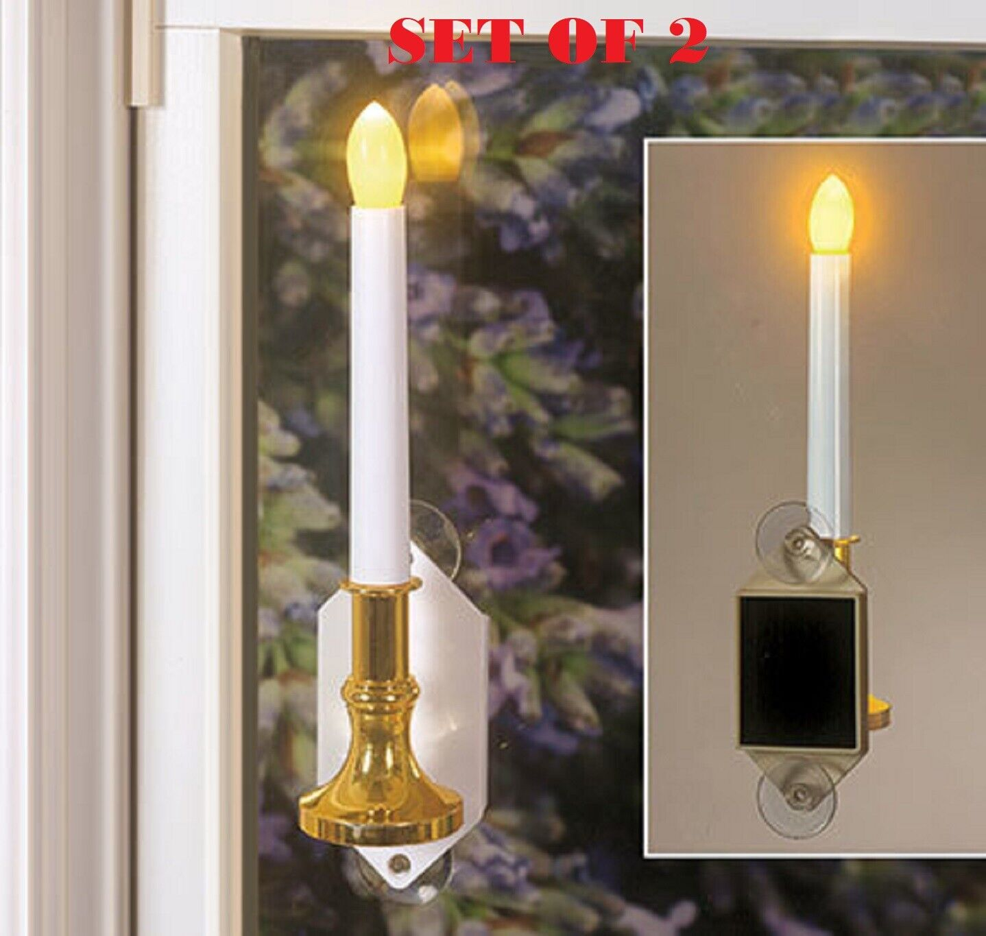 Solar Power Candle Window SET OF 2 Romantic Light  Suction Cups HIGH QUALITY 10½ Candles