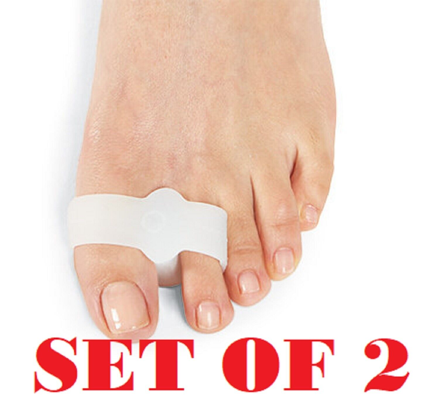 Visco Gel ToeBuddy Toe Spacer 2 Loops Separates Aligns Crooked Overlapping Toes Foot Creams & Treatments
