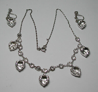 Antique Sparkling Gems  Charles Sterling Silver Pendant & Earrings Set As Is R46