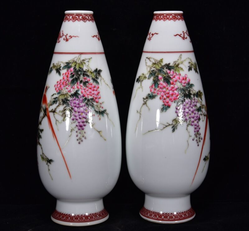 A Pair Chinese Pastel Porcelain Handmade Exquisite Flower & Birds Vases 17080