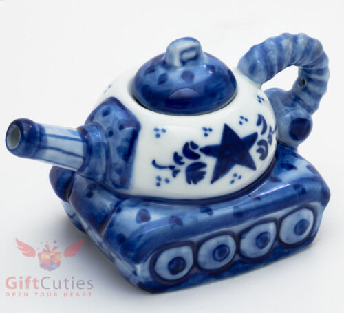 Porcelain Gzhel teapot Russian tank server handmade in Russia World of Tanks