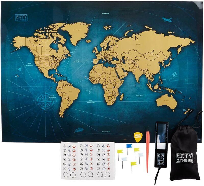 EXTY THREE Scratch Off World Map