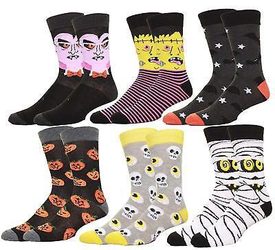 Mens Halloween Pumpkins Bats Zombie Faces Casual Dress Socks 6 Pack
