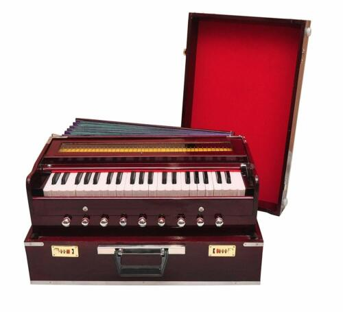 9 Stopper, Chudidaar Bellow, 42 Key, Two Reed(Bass-Male)Harmonium With Cover