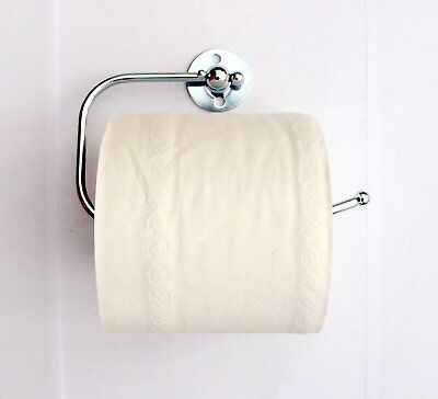 New Chrome Metal Toilet Paper Loo Roll Holder Fittings Screws Wall Mounted C&C