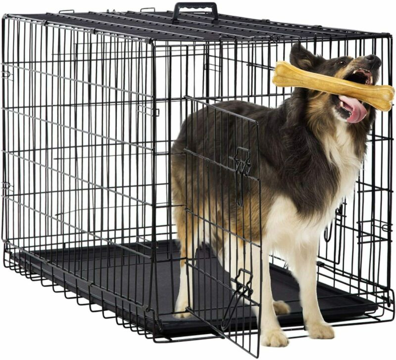 """36"""" Dog Crate 2 Door w/Divide Tray/1 Fold Metal Pet Cage Kennel House Black"""