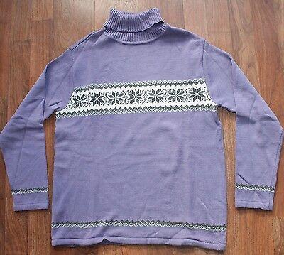 Womens MED MADISON & MAX Ugly Christmas Sweater PURPLE SNOWFLAKES Turtleneck EUC ()
